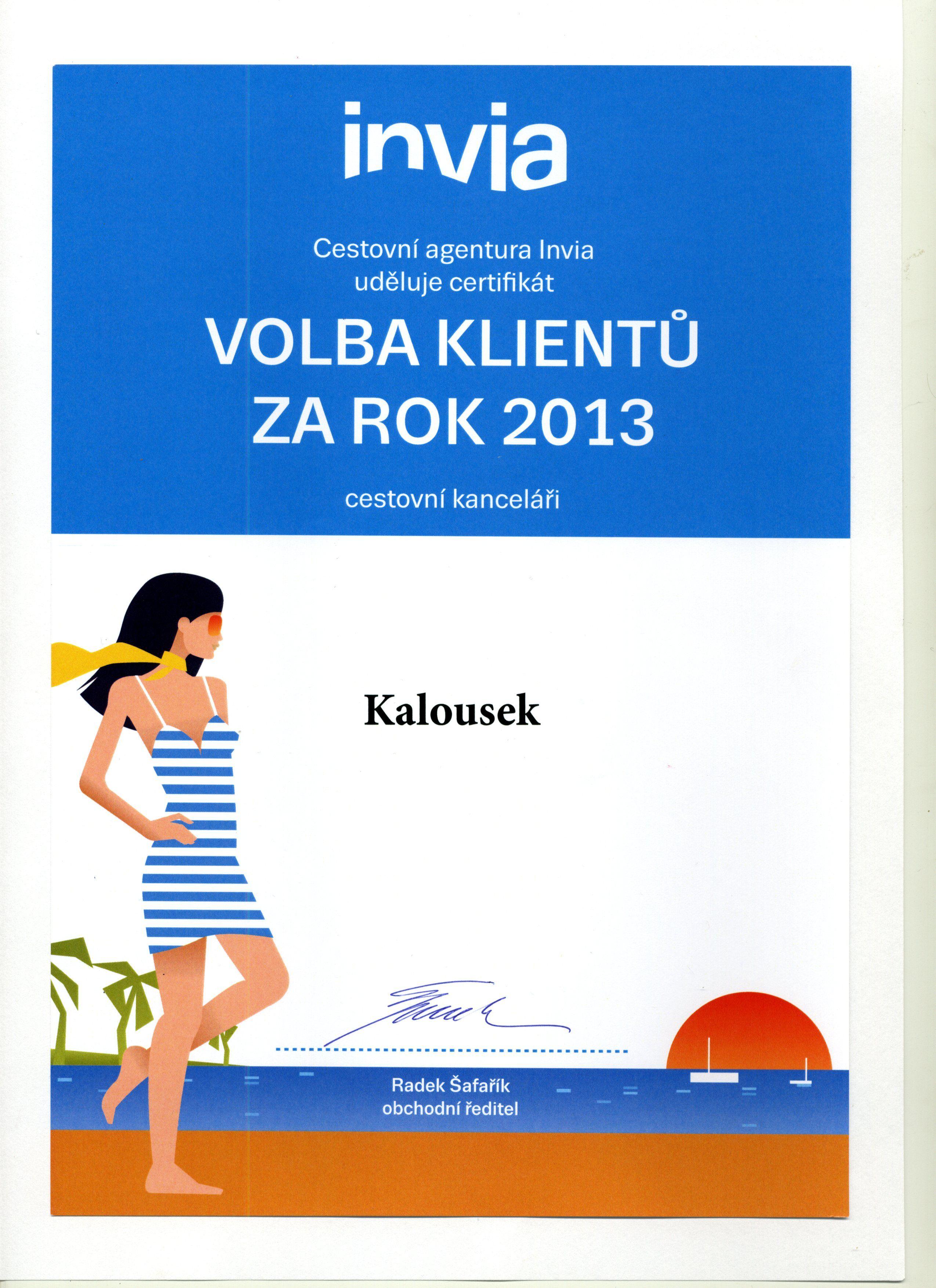 Invia.cz certifikát 2013