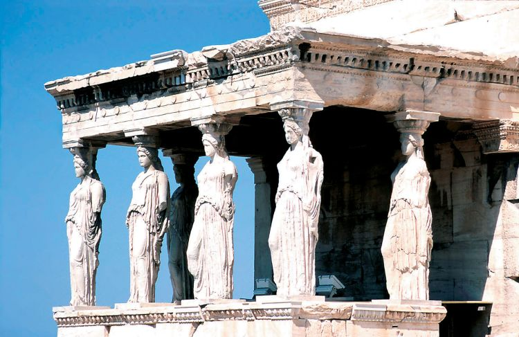 the caryatids on the erechtheion of