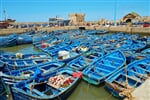 Lots of blue fishing boats in the port of Essaouira, Morocco_shutterstock_363640385