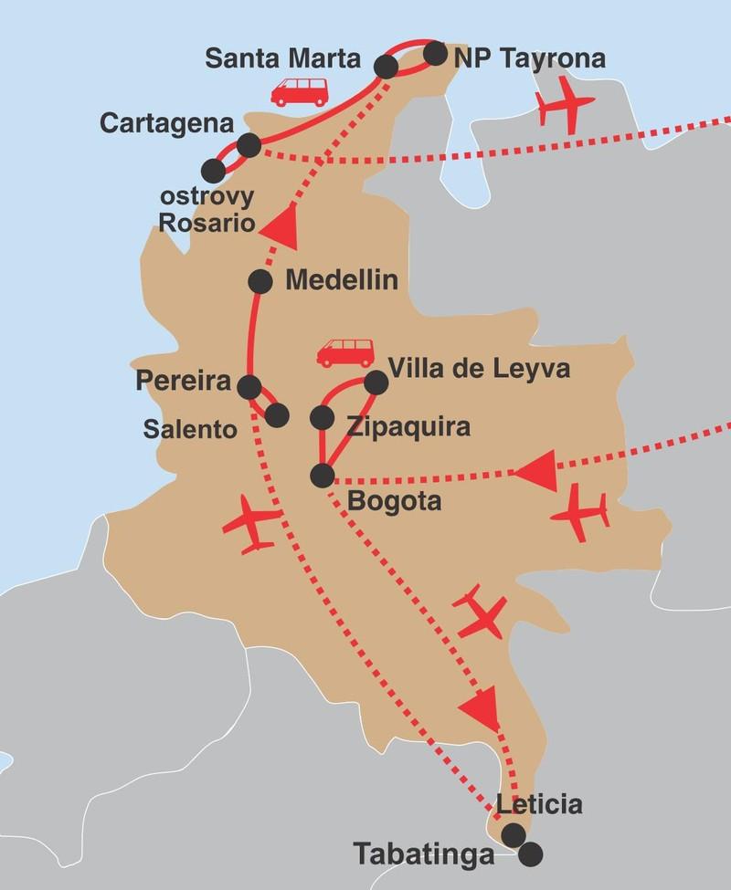 Kolumbie 02 trasa