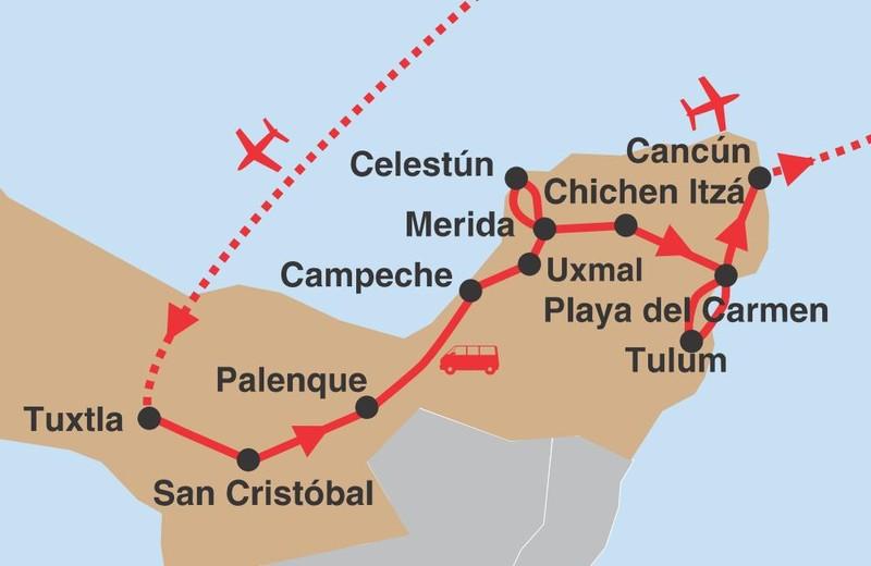 Poklady yucatanu 02 trasa