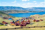 Beautiful views of the tourist centers and the Curkut Bay in August. Lake Baikal, Russia_shutterstock_606650351