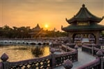 sunset with Chinese building scenes_shutterstock_3588448884