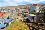 Passenger carriage of funicular railway, one of the oldest in the world, Valparaiso, Chile._shutterstock_264820187