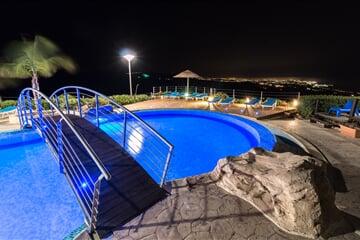 swimming, bridge, night