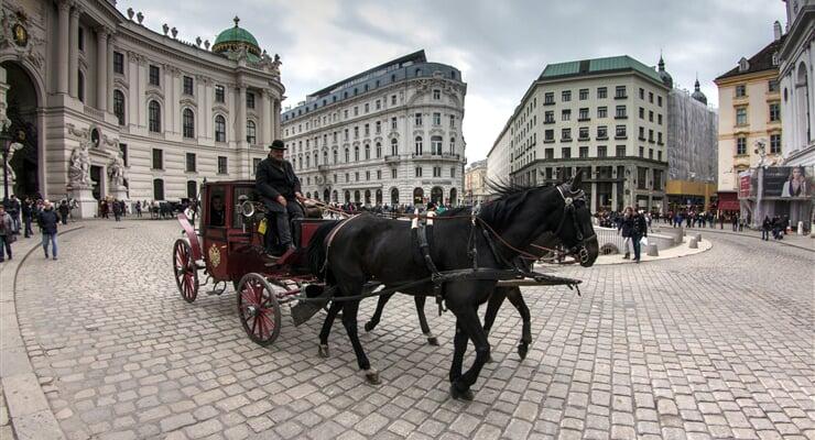 Vídeňský fiakr v historickém centru Vídně