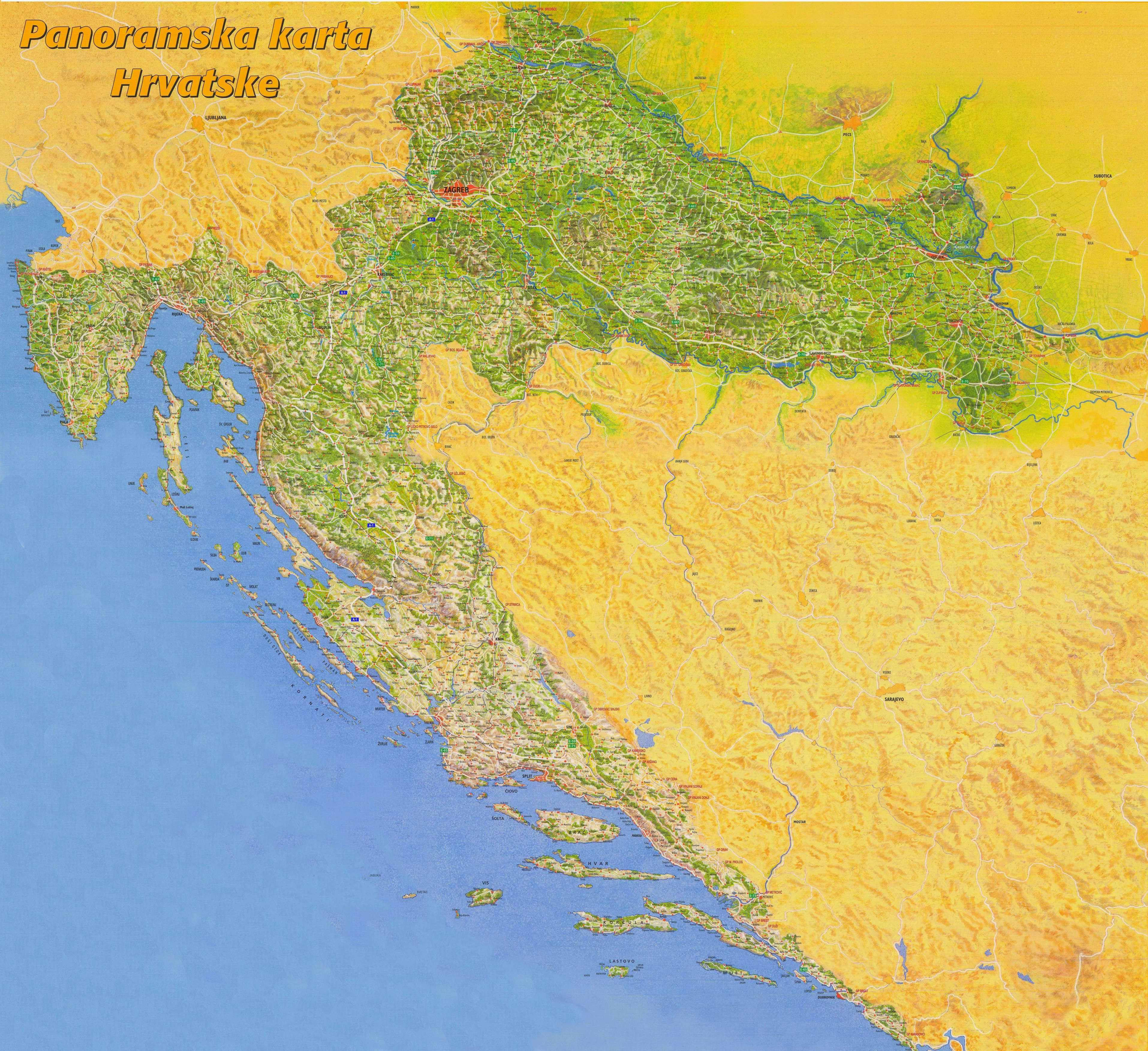 Mapa Chorvatska Chorvatsko 2020
