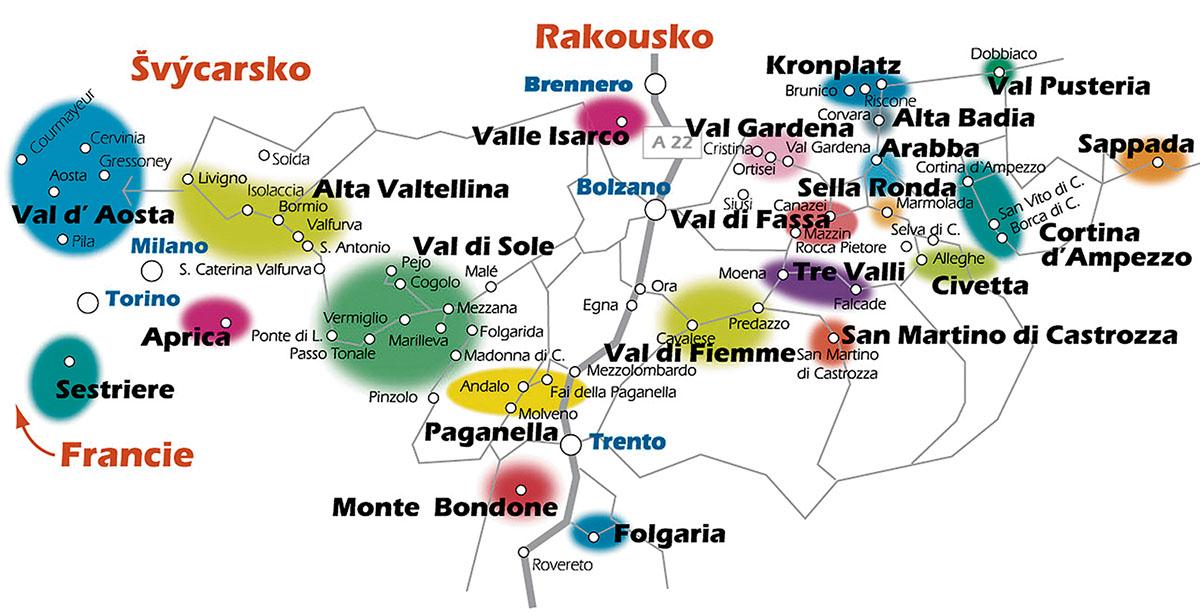 lyžařské zájezdy mapa