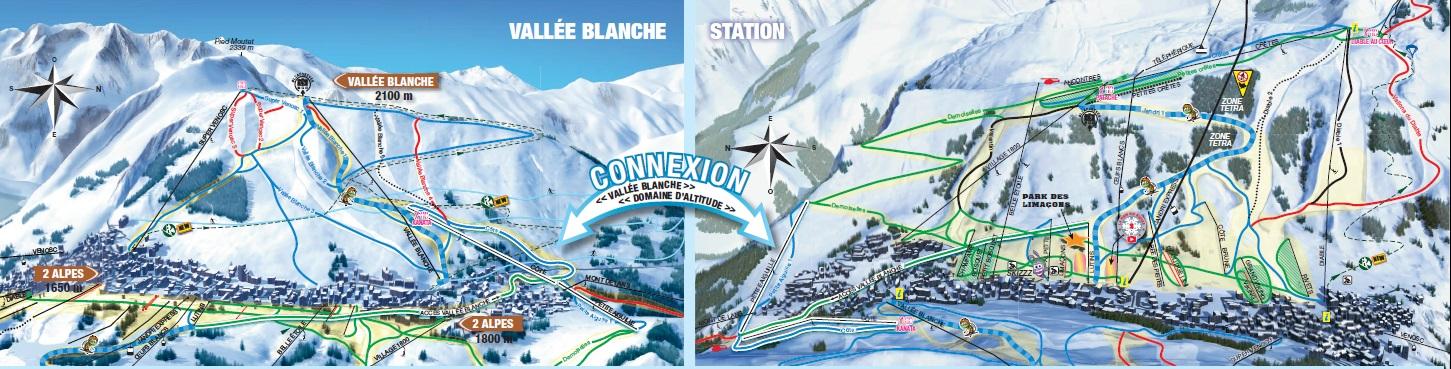 Skimapa FR Deux Alpes 2018 Vallee Blanche