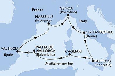 mapka MSC Divina